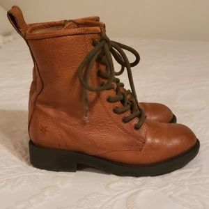Frye Lace-Up Camel Color Boots Girls 13.5 Leather
